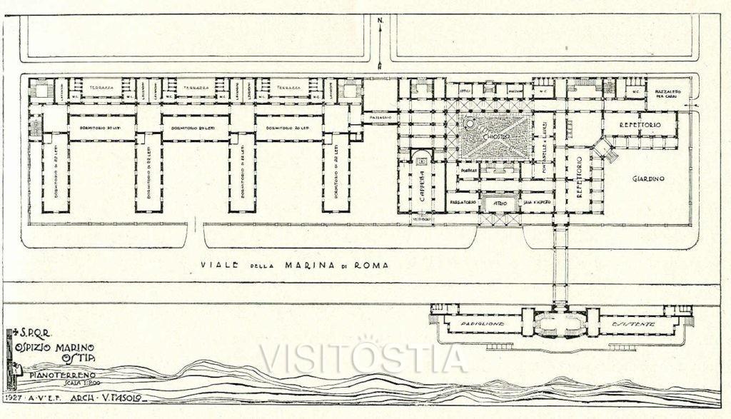 "VisitOstia - La Colonia Marina ""Vittorio Emanuele III"" - planimetria generale (1927)"