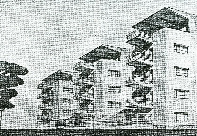 VisitOstia - palazzine di Adalberto Libera in viale della Vittoria, prospettiva (anni '30)